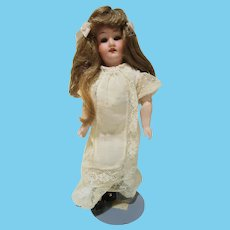 """Armand Marseille German bisque head doll wood body 9"""" tall lovely"""