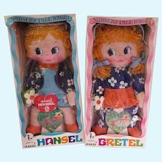 1969 AMSCO Hansel and Gretel cloth Rag dolls MIB Nursery Tale Raggi