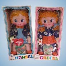 1969 AMSCO Hansel and Gretel cloth Rag dolls MIB Nursery Tale Raggi