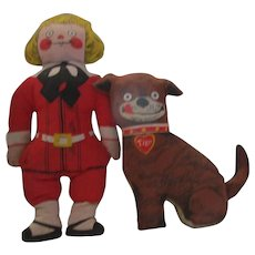 1974 Vintage Buster Brown and his dog Tige cloth stuffed pillow dolls