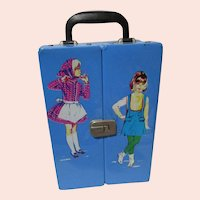 1960's RARE European Issued Skooter and Skipper doll case Blue EXCELLENT unused