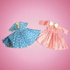 2 Vintage Little Miss Revlon Jill Jan style doll  dresses no tags fashion outfits 1950's