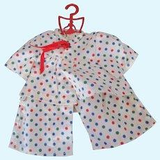 Terri Lee Original colorful polka dot cotton pajamas on vintage hanger