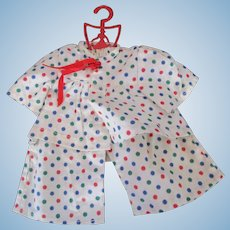 Terri Lee Original colorful polka dot cotton pajamas on vintage hanger