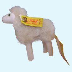 "Tiny Steiff Stuffed animal Lamb Sheep called Flori 4"" by 4"" all tags buttons"
