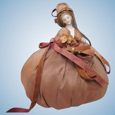 Hauntingly Strange Pin cushion doll with real hair half doll lady arms on hips