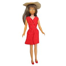 1960's first Edition Skipper straight leg brunette BArbie sister doll in Red Sensation outfit