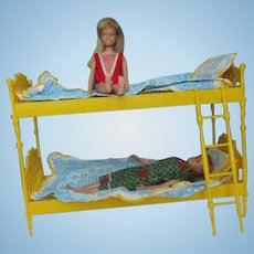 Vintage Skipper and Skooter Go Togethers Bunk Bed with dolls bedding 1965 Barbie furniture + dolls