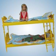 Vintage Skipper and Skooter Go Togethers Bunk Bed with dolls bedding 1965 Barbie furniture + dolls