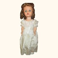 """Vintage 23"""" Saucy Walker doll 1954 IDEAL walker works pretty in white dress shoe"""