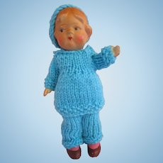 "Vintage bisque doll pouty face in knit outfit 6"" Very good condition"
