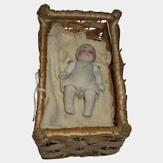 """Adorable all bisque 2-3/4"""" miniature pin jointed baby doll"""