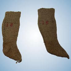"Antique knit doll socks 5"" long marked 18"