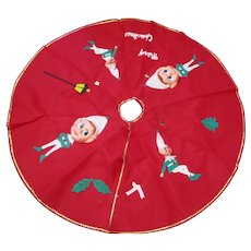"Vintage 34"" Felt original 1960-'s Tree skirt never used Elves Elf rubber face"