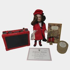 """Collector's Guild TRAVEL DOLL 1997 jointed wood porcelain 9"""" Wendy Lawton doll , trunk, teddy bear"""