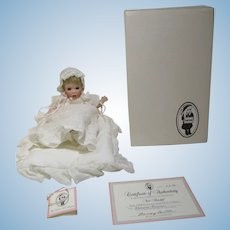 Christening designer baby doll on pillow Wee handful Wendy Lawton COA MIB