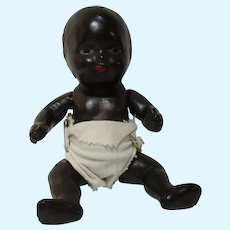 """Old black composition strung baby doll and her wardrobe 9"""""""