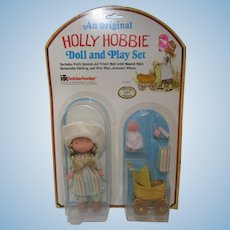 Vintage Holly Hobbie Doll and Play Set Amy with baby stroller etc MIP