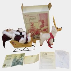 Raikes Teddy bear Santa and MIB Snowflake the reindeer and his sleigh
