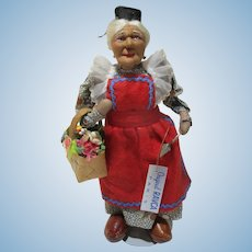 Original Bernard RAVCA stockinette gardening old lady doll 1930's Paris France