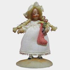 "NIADA Artist Irma Park ""Christmas Stocking"" 2 1/2"" Miniature Doll Signed 1977"