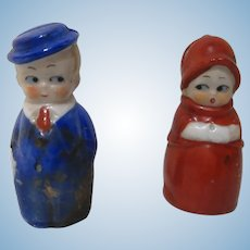 Vintage Germany miniature dolls place card holder pair googly