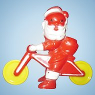 Vintage Rosbro plastic Santa Claus on bicycle cycle RARE motorcycle