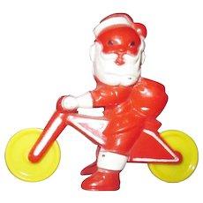 Vintage Rosbro plastic Santa Claus on bicycle cycle RARE motorcycle