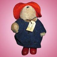 "Tiny little miniature Paddington bear in slickers  5"" tall"