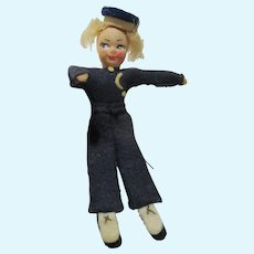 "Small Vintage cloth felt with mohair Bellhop hanging doll 5"" unusual"