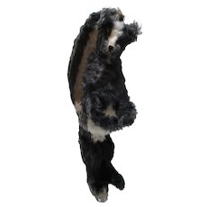 Old Mohair Skunk plush button in ear standing on two feet unusual