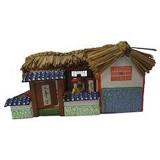 Vintage miniature Japanese house bamboo roof mini people detailed display