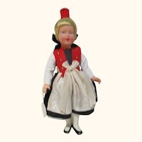 """Vintage very nice celluloid German Trachen-puppen doll 8"""" tall clean"""