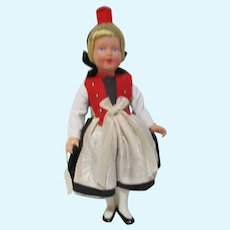 "Vintage very nice celluloid German Trachen-puppen doll 8"" tall clean"