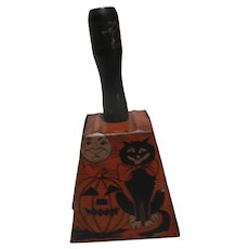 Vintage amazing old Halloween tin bell noisemaker black cat moon witch