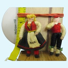 "Miniature 1.5"" German couple wire wool armature dolls exquisite"