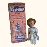 """Vintage 23"""" IDEAL Posie doll in original box and dress"""