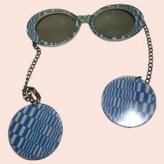 Fabulous retro Sunglasses with wrap earrings 1970's Je-Dol Hippie era