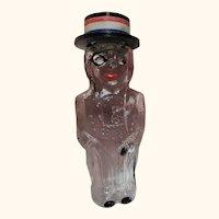 Vintage Lilac Lioret Glass Man with Top Hat as Cap Perfume Bottle