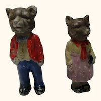 Very old bisque bear dolls made in Japan. Mom and dad