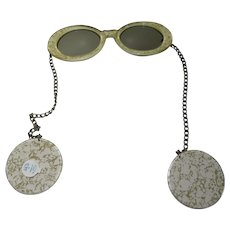Groovy 1970's wrap around sunglasses chain arms with earrings gold speckled