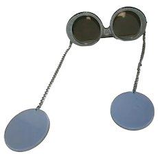 1976 Silver Gray Fashion Sunglasses Je-Dol Sunglasses, Earring on Chain
