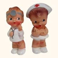 RARE vintage Alan Jay squeak toy set Nurse and Doctor rubber dolls