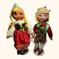 Very Rare unusual Hansel and Gretel cloth and felt dolls with flat rubber faces