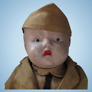 All original gorgeous Soldier composition doll jointed strung Skippy like