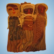 Peruvian Textile Burial Grounds Doll wall hanging triplets RARE
