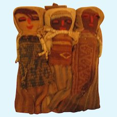 Peruvian Textile Burial Grounds Doll wall hanging triplets RARE cloth ethnic tribute