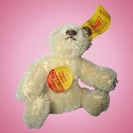 "Steiff miniature Teddy Bear vanilla creme made in Western Germany 0203/11 so cute 3"" tall"