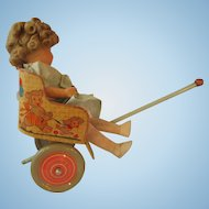 OHIO ART tin doll cart pull toy and old composition Shirley copycat doll Excellent stroller rickshaw