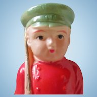"Vintage celluloid Rattle Soldier 4""  Unusual"